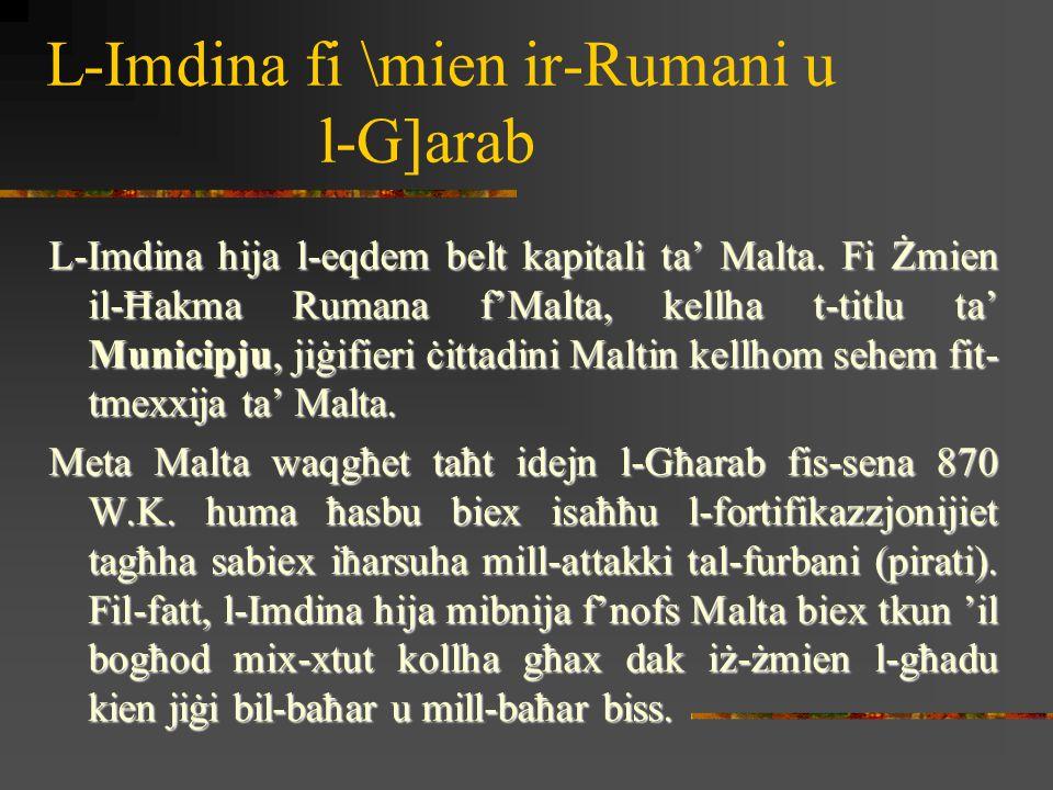 L-Imdina fi \mien ir-Rumani u l-G]arab